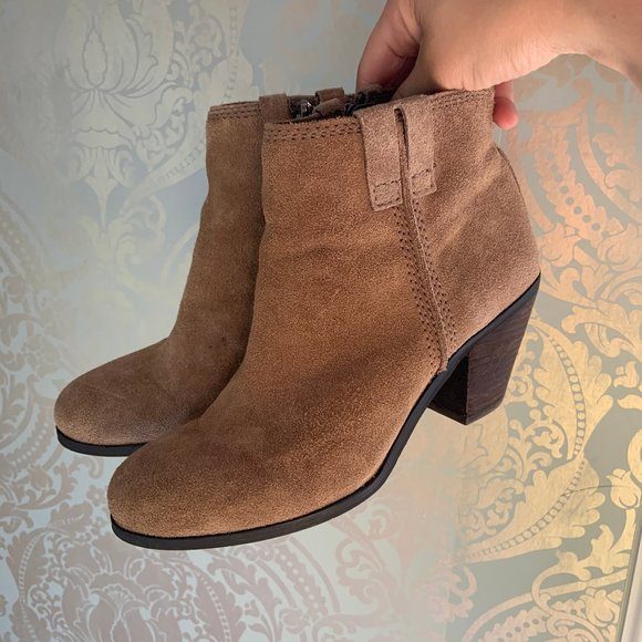 Sam Edleman Laredo Suede Heeled Ankle Boots Tan